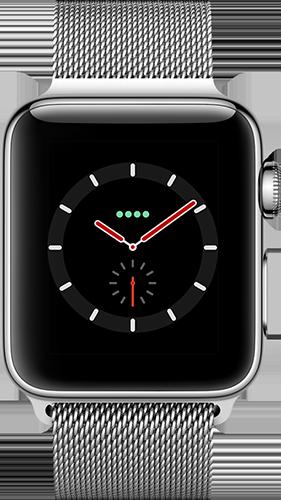 Apple Watch Series 3 Edelstahl-Silber-38 mm, Armband-Edelstahl-Milanaise, GPS und Cellular Vorne und Hinten