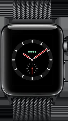 Apple Watch Series 3 Edelstahl-Space Schwarz-38 mm, Armband-Edelstahl-Milanaise Space Schwarz, GPS und Cellular Vorne und Hinten