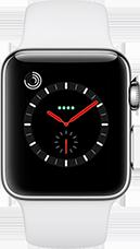 Apple Watch Series 3 Edelstahl-Silber-38 mm, Armband-Sport-Soft Weiß, GPS und Cellular Katalog