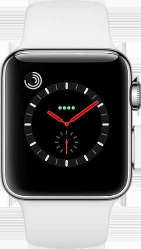 Apple Watch Series 3 Edelstahl-Silber-38 mm, Armband-Sport-Soft Weiß, GPS und Cellular Vorne und Hinten