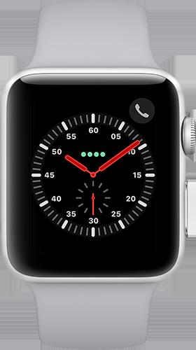 Apple Watch Series 3 Aluminium-Silber-42 mm, Armband-Sport-Nebel, GPS und Cellular Vorne und Hinten