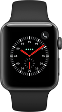 Apple Watch Series 3 Aluminium-Space Grau-42 mm, Armband-Sport-Schwarz, GPS und Cellular Katalog