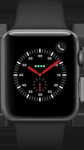 Apple Watch Series 3 Aluminium-Space Grau-42 mm, Armband-Sport-Schwarz, GPS und Cellular Vorne und Hinten
