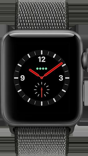 Apple Watch Series 3 Aluminium-Space Grau-42 mm, Armband-Sport Loop-Dunkelolive, GPS und Cellular Vorne und Hinten