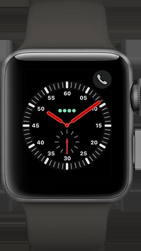 Apple Watch Series 3 Aluminium-Space Grau-42 mm, Armband-Sport-Grau, GPS und Cellular Vorne und Hinten