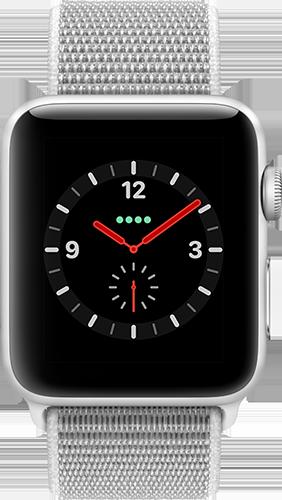 Apple Watch Series 3 Aluminium-Silber-42 mm, Armband-Sport Loop-Muschel, GPS und Cellular Vorne und Hinten