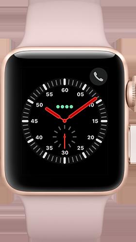 Apple Watch Series 3 Aluminium-Gold-42 mm, Armband-Sport-Sandrosa, GPS und Cellular Vorne und Hinten