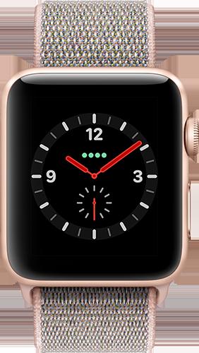 Apple Watch Series 3 Aluminium-Gold-42 mm, Armband-Sport Loop-Sandrosa, GPS und Cellular Vorne und Hinten