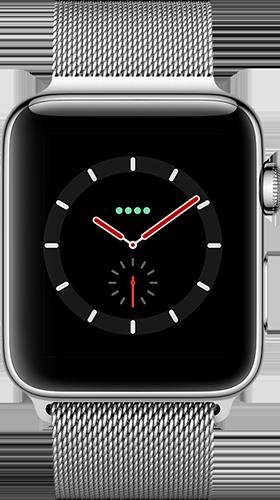 Apple Watch Series 3 Edelstahl-Silber-42 mm, Armband-Edelstahl-Milanaise, GPS und Cellular Vorne und Hinten