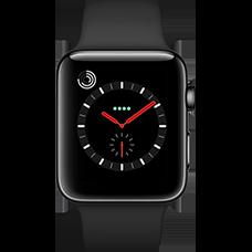 Apple Watch Series 3 Edelstahl-Space Schwarz-42 mm, Armband-Sport-Schwarz, GPS und Cellular Katalog