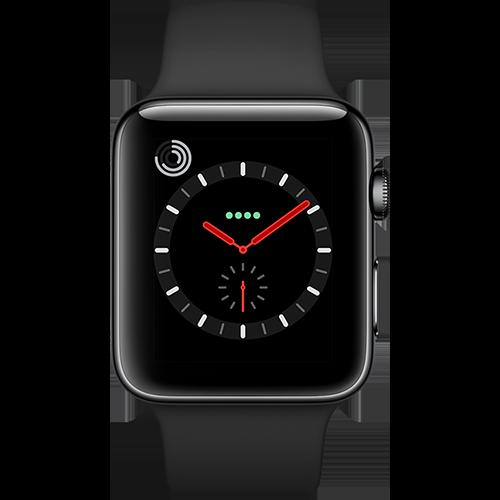 Apple Watch Series 3 Edelstahl-Space Schwarz-42 mm, Armband-Sport-Schwarz, GPS und Cellular Vorne und Hinten