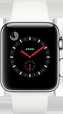 Apple Watch Series 3 Edelstahl-Silber-42 mm, Armband-Sport-Soft Weiß, GPS und Cellular Katalog