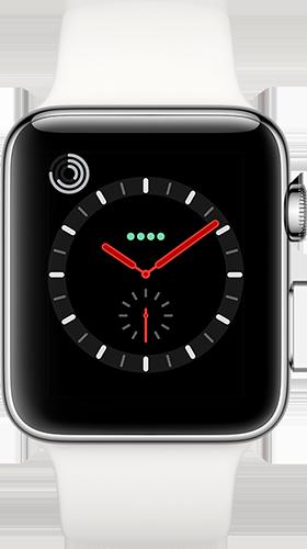 Apple Watch Series 3 Edelstahl-Silber-42 mm, Armband-Sport-Soft Weiß, GPS und Cellular Vorne und Hinten