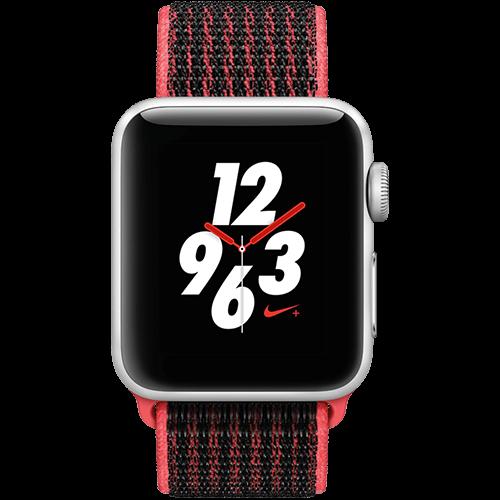 Apple Watch Series 3 Nike+ Aluminium-Silber-38 mm, Armband-Nike Sport-Crimson/Schwarz, GPS und Cellular Vorne und Hinten