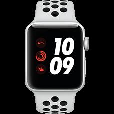 Apple Watch Series 3 Nike+ Aluminium-Silber-38 mm, Armband-Nike Sport-Platinum/Schwarz, GPS und Cellular Katalog