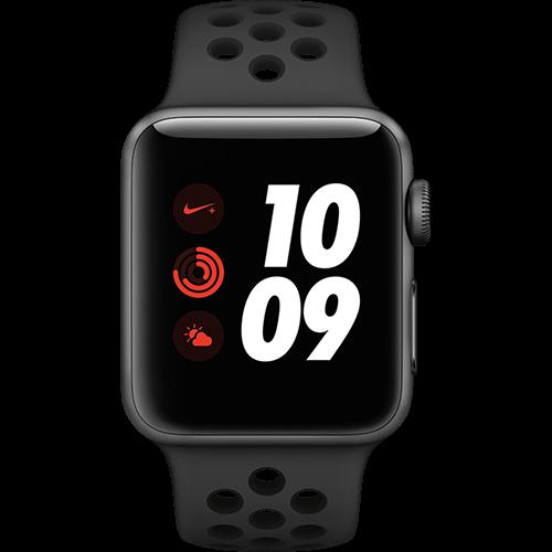 Apple Watch Series 3 Nike+ Aluminium-Space Grau-38 mm, Armband-Nike Sport-Anthrazit/Schwarz, GPS und Cellular Vorne und Hinten