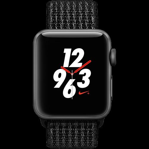 Apple Watch Series 3 Nike+ Aluminium-Space Grau-38 mm, Armband-Nike Sport-Schwarz/Pure Platinum, GPS und Cellular Vorne und Hinten