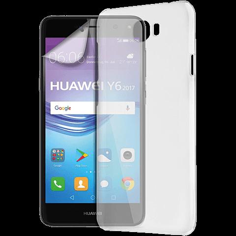 xqisit iPlate + Displayschutzfolie Huawei Y6 (2017) 99926969 vorne