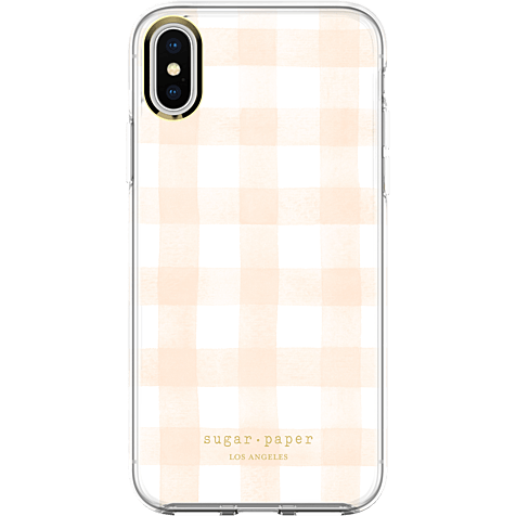 Sugar Paper Clear Case Watercolour Plaid Blush White Apple iPhone X 99927128 hero
