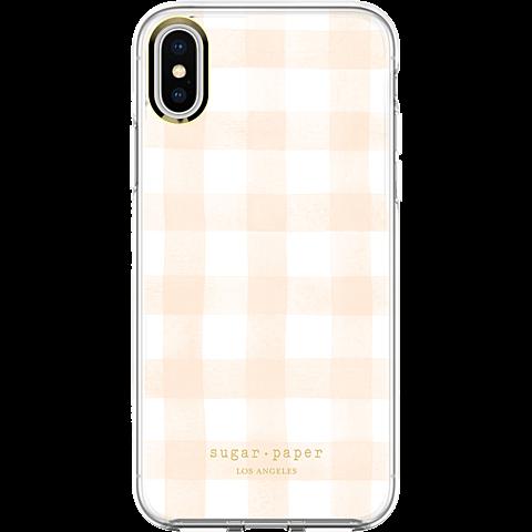 Sugar Paper Clear Case Watercolour Plaid Blush White Apple iPhone X 99927128 hinten