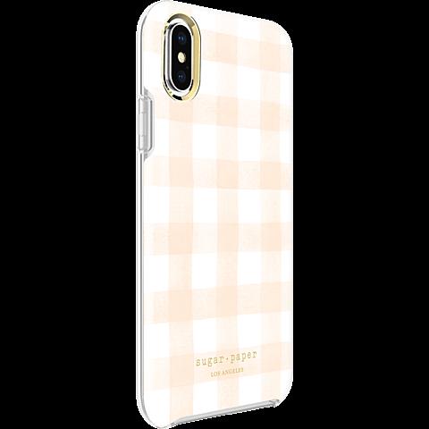 Sugar Paper Clear Case Watercolour Plaid Blush White Apple iPhone X 99927128 seitlich