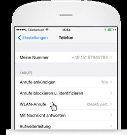 WLAN Call für iOS: Menüpunkt WLAN-Anrufe