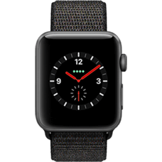 Apple Watch Series 3 Aluminium-42 mm, Armband-Sport Loop-Schwarz, GPS und Cellular Space Grau Katalog