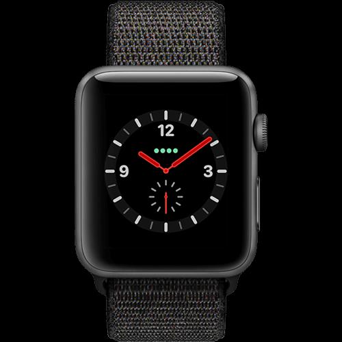 Apple Watch Series 3 Aluminium-42 mm, Armband-Sport Loop-Schwarz, GPS und Cellular Space Grau Vorne und Hinten