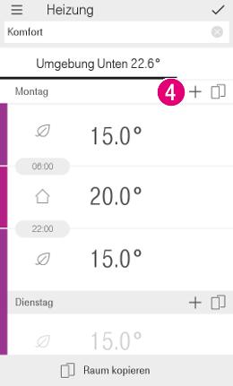 Tippen Sie auf das Plus-Symbol, wenn Sie neue Tagesbereich oder Zeitfenster hinzufügen möchten.
