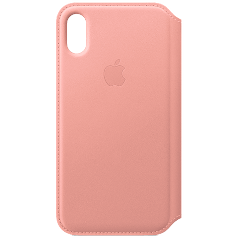 Apple Leder Folio Case iPhone X Zartrosa 99927864 vorne