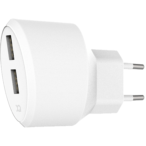 xqisit Ladegerät 3,4A Dual USB Weiss 99928168 vorne
