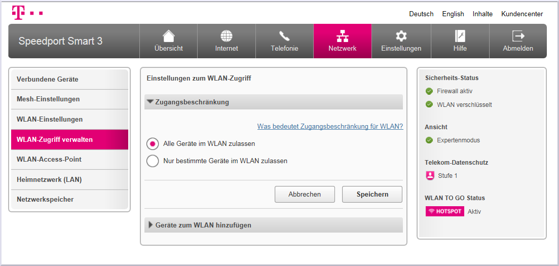 Zugangsbeschränkung Speedport Smart 9  Telekom Hilfe