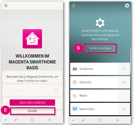Einrichtung Magenta SmartHome abschließen Schritte 8 bis 9