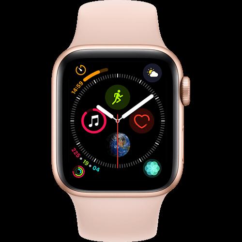 Apple Watch Series 4 Aluminium-40 mm, Armband-Sport-Sandrosa, GPS und Cellular Gold Vorne und Hinten
