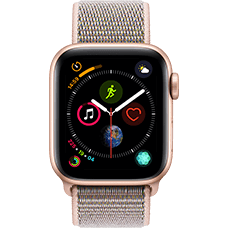 Apple Watch Series 4 Aluminium-40 mm, Armband-Sport Loop-Sandrosa, GPS und Cellular Gold Katalog
