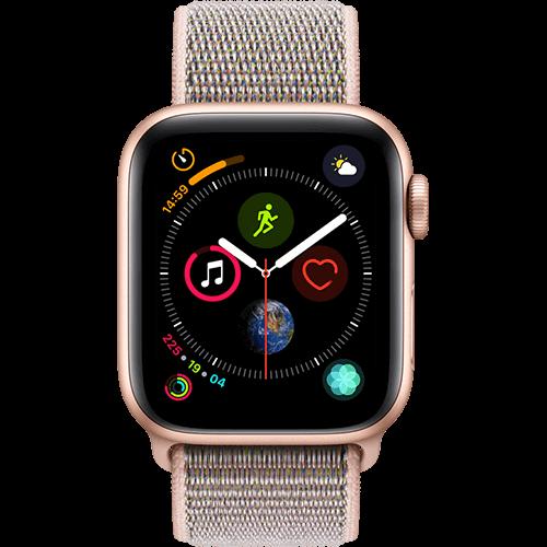 Apple Watch Series 4 Aluminium-40 mm, Armband-Sport Loop-Sandrosa, GPS und Cellular Gold Vorne und Hinten