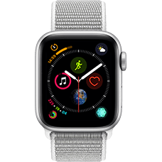Apple Watch Series 4 Aluminium-40 mm, Armband-Sport Loop-Muschel, GPS und Cellular Silber Katalog