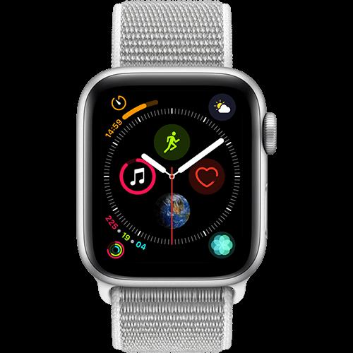 Apple Watch Series 4 Aluminium-40 mm, Armband-Sport Loop-Muschel, GPS und Cellular Silber Vorne und Hinten