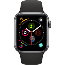 Apple Watch Series 4 Aluminium-40 mm, Armband-Sport-Schwarz, GPS und Cellular Space Grau Katalog