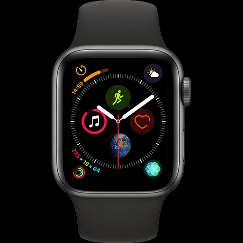 Apple Watch Series 4 Aluminium-40 mm, Armband-Sport-Schwarz, GPS und Cellular Space Grau Vorne und Hinten