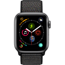 Apple Watch Series 4 Aluminium-40 mm, Armband-Sport Loop-Schwarz, GPS und Cellular Space Grau Katalog