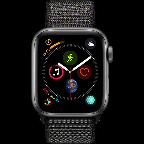 Apple Watch Series 4 Aluminium-40 mm, Armband-Sport Loop-Schwarz, GPS und Cellular Space Grau Vorne und Hinten