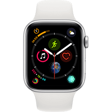Apple Watch Series 4 Aluminium-44 mm, Armband-Sport-Weiß, GPS und Cellular Silber Katalog