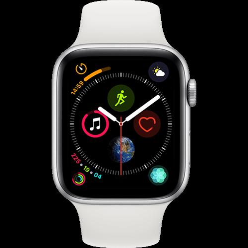 Apple Watch Series 4 Aluminium-44 mm, Armband-Sport-Weiß, GPS und Cellular Silber Vorne und Hinten
