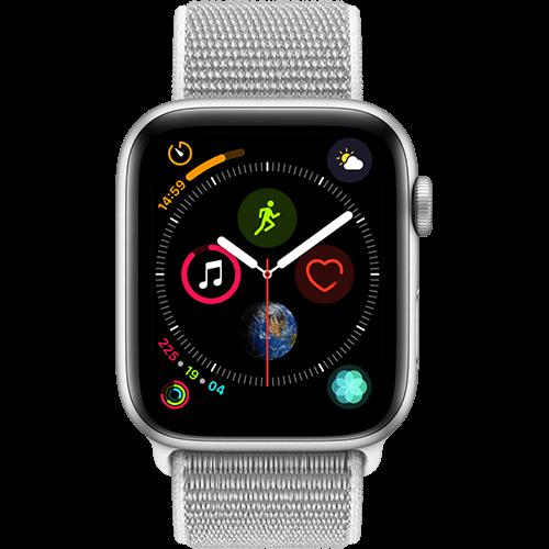 Apple Watch Series 4 Aluminium-44 mm, Armband-Sport Loop-Muschel, GPS und Cellular Silber Vorne und Hinten