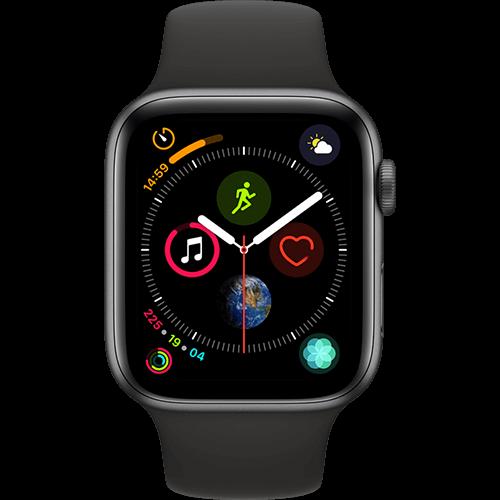 Apple Watch Series 4 Aluminium-44 mm, Armband-Sport-Schwarz, GPS und Cellular Space Grau Vorne und Hinten