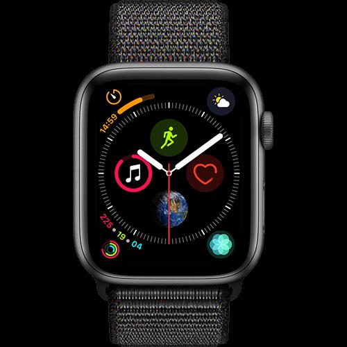 Apple Watch Series 4 Aluminium-44 mm, Armband-Sport Loop-Schwarz, GPS und Cellular Space Grau Vorne und Hinten