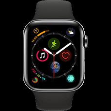 Apple Watch Series 4 Edelstahl-44 mm, Armband-Sport-Schwarz, GPS und Cellular Space Schwarz Katalog