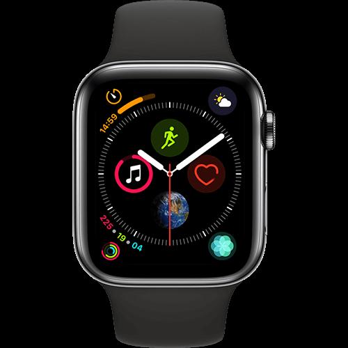 Apple Watch Series 4 Edelstahl-44 mm, Armband-Sport-Schwarz, GPS und Cellular Space Schwarz Vorne und Hinten