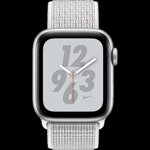 Apple Watch Series 4 Nike+ Aluminium-40 mm, Armband-Nike Sport Loop-Summit White, GPS und Cellular Silber Vorne und Hinten